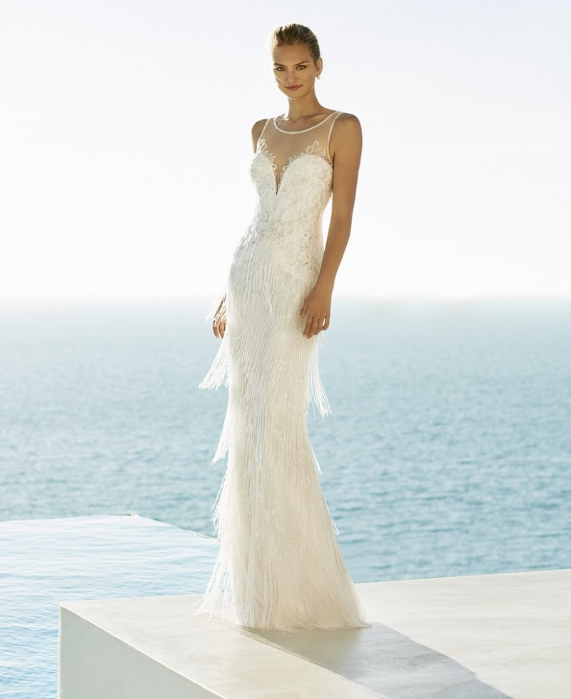 15 fringed wedding dresses for a glamorous bridal look
